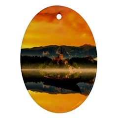 Bled Slovenia Sunrise Fog Mist Oval Ornament (two Sides)