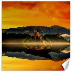 Bled Slovenia Sunrise Fog Mist Canvas 16  X 16