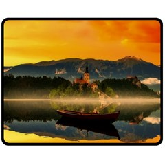 Bled Slovenia Sunrise Fog Mist Fleece Blanket (medium)