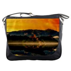 Bled Slovenia Sunrise Fog Mist Messenger Bags