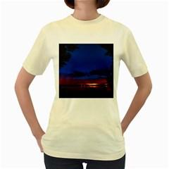 Canada Lake Night Evening Stars Women s Yellow T Shirt