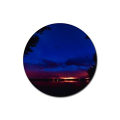 Canada Lake Night Evening Stars Rubber Round Coaster (4 Pack)