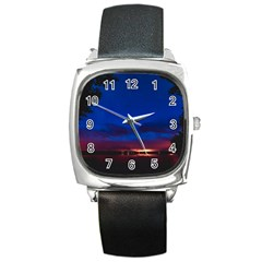 Canada Lake Night Evening Stars Square Metal Watch