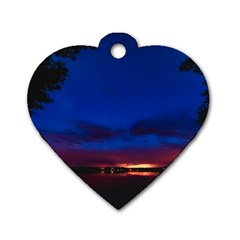 Canada Lake Night Evening Stars Dog Tag Heart (one Side)