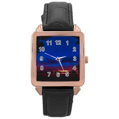 Canada Lake Night Evening Stars Rose Gold Leather Watch