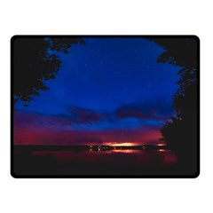 Canada Lake Night Evening Stars Double Sided Fleece Blanket (small)