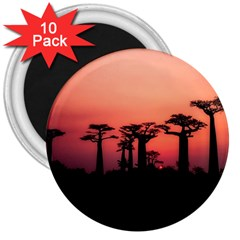 Baobabs Trees Silhouette Landscape 3  Magnets (10 Pack)