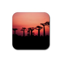 Baobabs Trees Silhouette Landscape Rubber Square Coaster (4 Pack)
