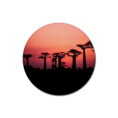 Baobabs Trees Silhouette Landscape Rubber Round Coaster (4 Pack)