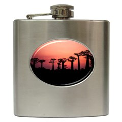 Baobabs Trees Silhouette Landscape Hip Flask (6 Oz)