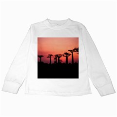 Baobabs Trees Silhouette Landscape Kids Long Sleeve T Shirts