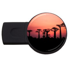 Baobabs Trees Silhouette Landscape Usb Flash Drive Round (4 Gb)