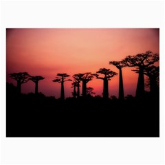 Baobabs Trees Silhouette Landscape Large Glasses Cloth (2 Side)