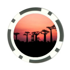 Baobabs Trees Silhouette Landscape Poker Chip Card Guard