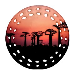 Baobabs Trees Silhouette Landscape Ornament (round Filigree)