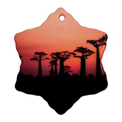 Baobabs Trees Silhouette Landscape Snowflake Ornament (two Sides)