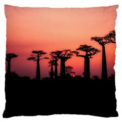 Baobabs Trees Silhouette Landscape Large Cushion Case (two Sides)