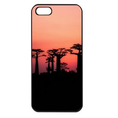 Baobabs Trees Silhouette Landscape Apple Iphone 5 Seamless Case (black)
