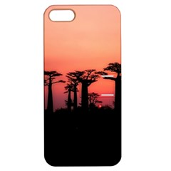 Baobabs Trees Silhouette Landscape Apple Iphone 5 Hardshell Case With Stand