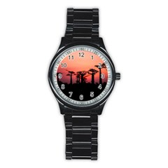 Baobabs Trees Silhouette Landscape Stainless Steel Round Watch