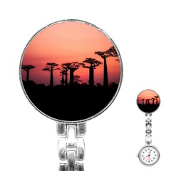 Baobabs Trees Silhouette Landscape Stainless Steel Nurses Watch