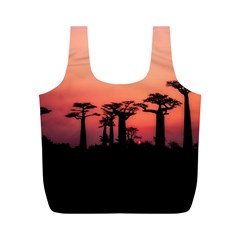 Baobabs Trees Silhouette Landscape Full Print Recycle Bags (m)