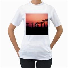 Baobabs Trees Silhouette Landscape Women s T Shirt (white)