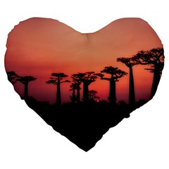 Baobabs Trees Silhouette Landscape Large 19  Premium Flano Heart Shape Cushions