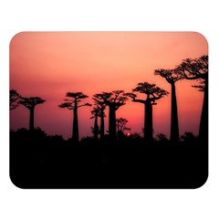 Baobabs Trees Silhouette Landscape Double Sided Flano Blanket (large)