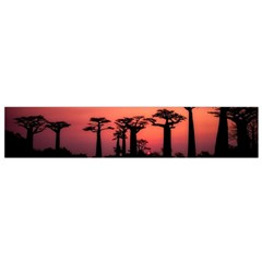 Baobabs Trees Silhouette Landscape Small Flano Scarf