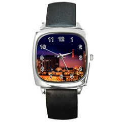 San Francisco Night Evening Lights Square Metal Watch