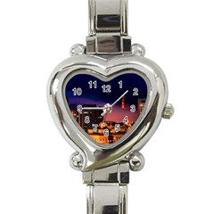 San Francisco Night Evening Lights Heart Italian Charm Watch
