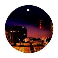 San Francisco Night Evening Lights Round Ornament (two Sides)