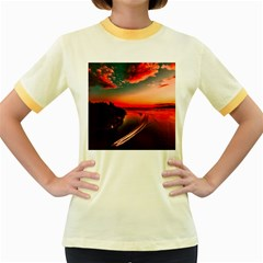 Sunset Dusk Boat Sea Ocean Water Women s Fitted Ringer T Shirts