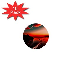 Sunset Dusk Boat Sea Ocean Water 1  Mini Buttons (10 Pack)