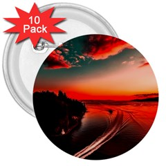 Sunset Dusk Boat Sea Ocean Water 3  Buttons (10 Pack)