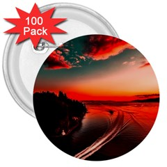 Sunset Dusk Boat Sea Ocean Water 3  Buttons (100 Pack)