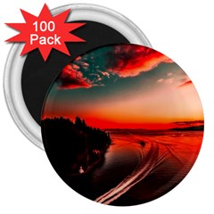 Sunset Dusk Boat Sea Ocean Water 3  Magnets (100 Pack)