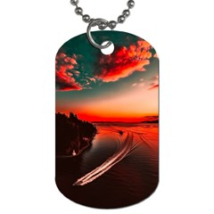 Sunset Dusk Boat Sea Ocean Water Dog Tag (one Side)