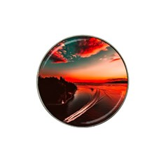 Sunset Dusk Boat Sea Ocean Water Hat Clip Ball Marker