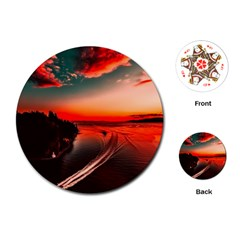 Sunset Dusk Boat Sea Ocean Water Playing Cards (round)