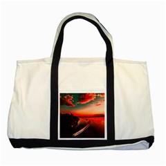 Sunset Dusk Boat Sea Ocean Water Two Tone Tote Bag