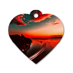 Sunset Dusk Boat Sea Ocean Water Dog Tag Heart (two Sides)