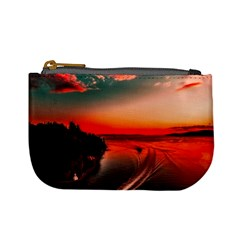 Sunset Dusk Boat Sea Ocean Water Mini Coin Purses