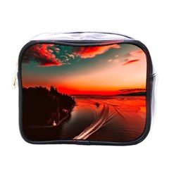Sunset Dusk Boat Sea Ocean Water Mini Toiletries Bags
