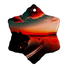 Sunset Dusk Boat Sea Ocean Water Snowflake Ornament (two Sides)