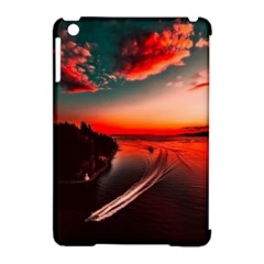 Sunset Dusk Boat Sea Ocean Water Apple Ipad Mini Hardshell Case (compatible With Smart Cover)