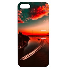 Sunset Dusk Boat Sea Ocean Water Apple Iphone 5 Hardshell Case With Stand