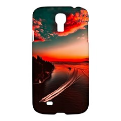 Sunset Dusk Boat Sea Ocean Water Samsung Galaxy S4 I9500/i9505 Hardshell Case