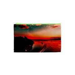 Sunset Dusk Boat Sea Ocean Water Cosmetic Bag (xs)